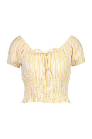 Linen Stripe Puff Sleeve Shirred Top | Boohoo yellow