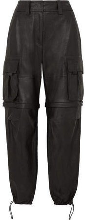 Convertible Leather Cargo Pants - Black