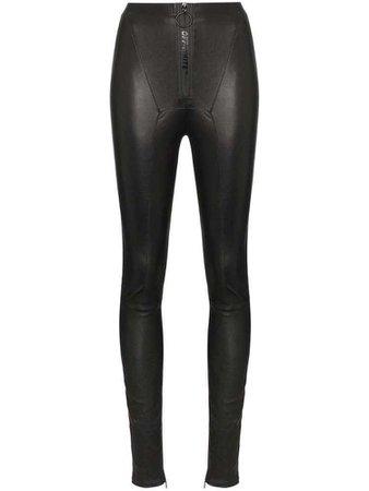 Off-White high-waisted leather leggings - Black