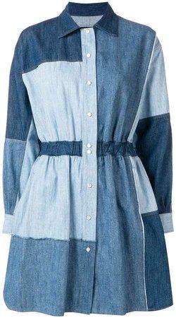 patchwork denim dress