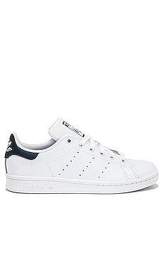adidas Originals Stan Smith Sneaker in White & Dark Blue   REVOLVE
