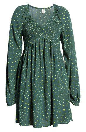 V-Neck Long Sleeve Babydoll Minidress | Nordstrom