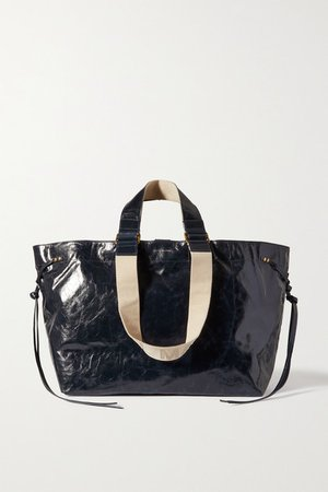 Wardy Canvas-trimmed Crinkled Glossed-leather Tote - Black