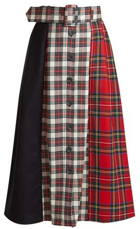 Panelled Tartan Wool Skirt - Womens - Red Multi