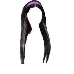 Dark Brown Hair PNG HEADBAND white/blonde streaks