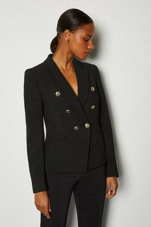 Tailored Button Military Blazer | Karen Millen