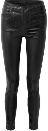 Maria Coated High-rise Skinny Jeans - Black