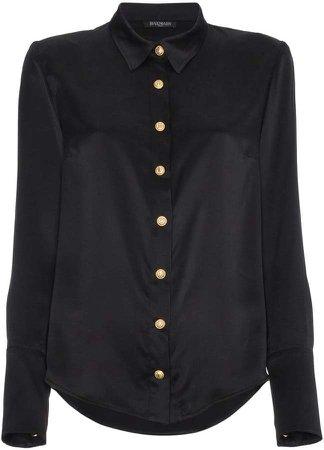 button down long sleeve silk shirt