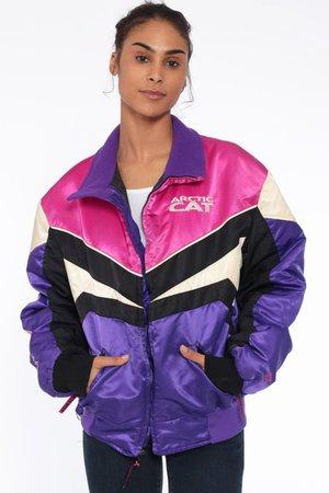 Arctic Cat Jacket Racing Ski Jacket Pink Striped Black Winter   Etsy