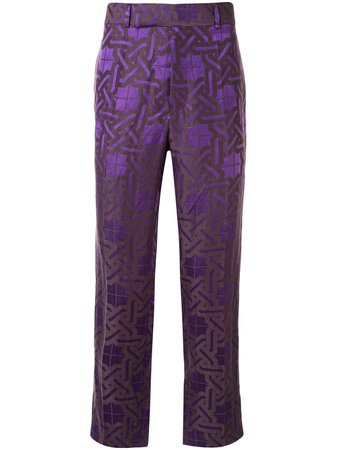 Shop purple Haider Ackermann geometric-print trousers with Express Delivery - Farfetch
