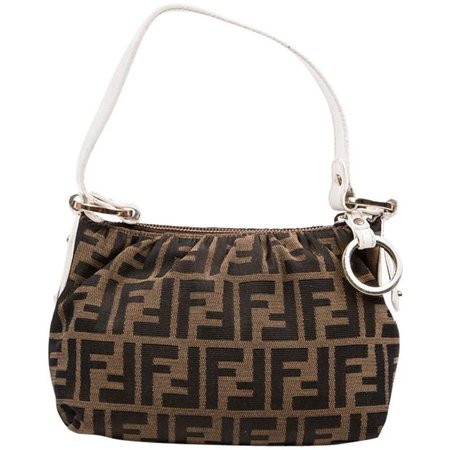Fendi Brown Canvas and White Leather Mini Bag at 1stdibs