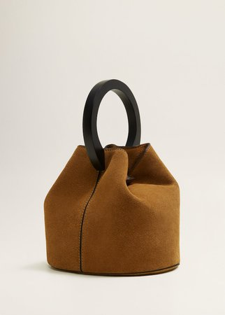 Wooden handle leather bag - Woman | MANGO Ukraine