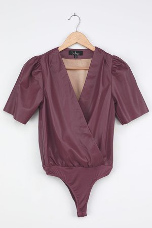 Burgundy Bodysuit - Vegan Leather Bodysuit - Puff Sleeve Bodysuit - Lulus