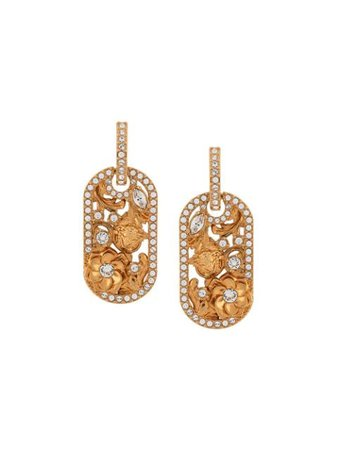 Shop gold & white Versace crystal-embellished earrings with Express Delivery - Farfetch