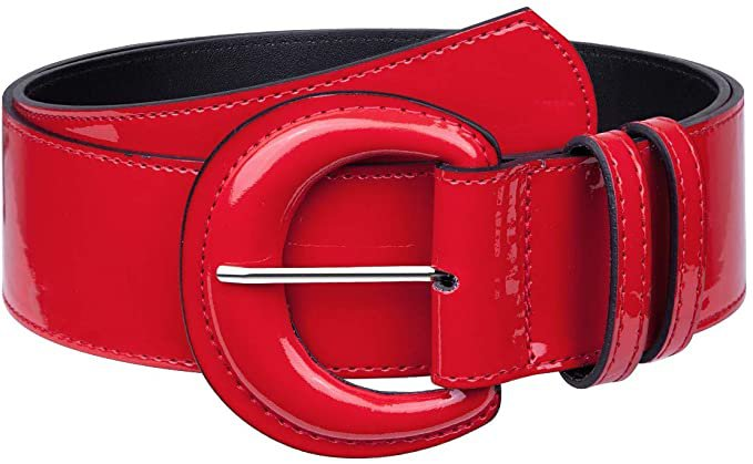 Samtree Vintage Wide Patent Leather Belt for Women, Chunky Buckle Grommet Cinch High Waist Belt for Dress, Red at Amazon Women's Clothing store