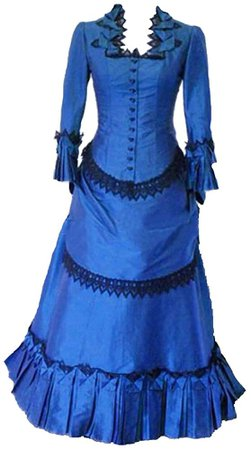 Amazon.com: Steampunk Victorian Gothic Cosplay Costume Victorian Bustle Dress Gown Costume Edwardian Dress Blue: Clothing