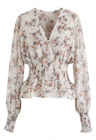 Floral Print Eyelet Embroidered Peplum Top in Cream - Long Sleeve - TOPS - Retro, Indie and Unique Fashion