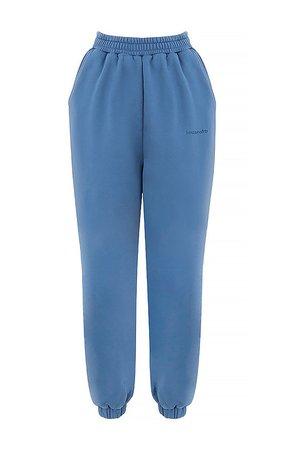 Clothing : Trousers : 'Sky' Azure Fleece Back Jogging Trouser