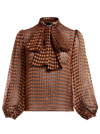 LOLITA HOUNDSTOOTH TIE NECK BLOUSE in HARVEST HOUNDSTOOTH MD | Alice and Olivia
