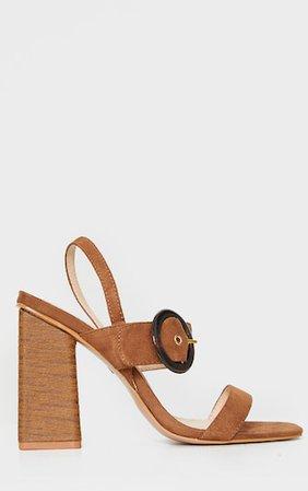 Tan Wood Block Heel Buckle Square Toe Sandals | PrettyLittleThing