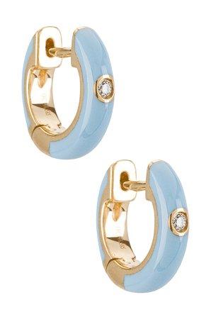 EF COLLECTION Single Diamond Enamel Huggie Earring in Baby Blue | REVOLVE