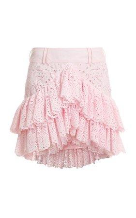 Broderie Anglaise Ruffled Cotton Skirt By Balmain | Moda Operandi