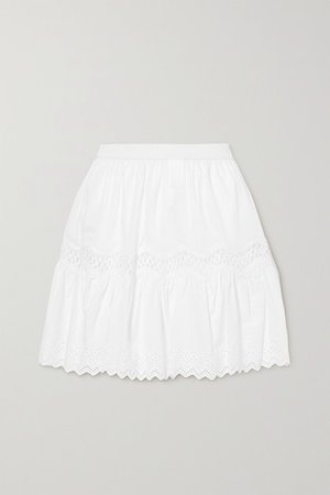 Crocheted Lace And Broderie Anglaise-trimmed Cotton Mini Skirt - White