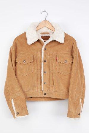 New Heritage Cord Trucker Jacket - Tan Jacket - Faux Fur Jacket - Lulus