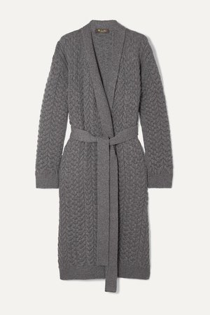 Loro Piana | Belted cable-knit cashmere cardigan | NET-A-PORTER.COM