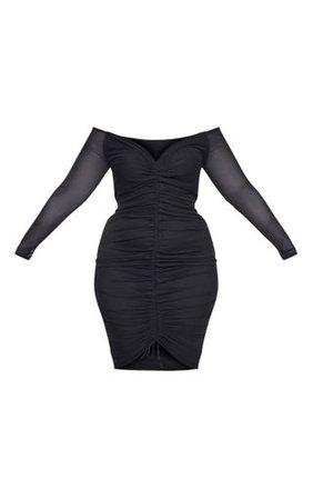 Plus Black Mesh Ruched Bardot Midi Dress | PrettyLittleThing USA