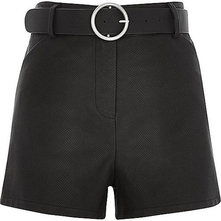 Black leather-look belted high waisted shorts - smart shorts