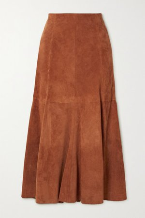 Amy Suede Midi Skirt - Brick