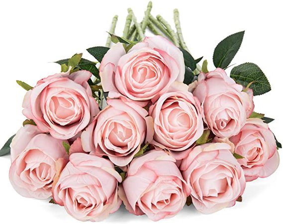 Amazon.com: LuLuHouse Silk Rose Flower Artificial Roses with Long Stems for DIY Wedding Bouquets Centerpieces Bridal Shower Party Home Decor (Ligh Pink, 10): Kitchen & Dining