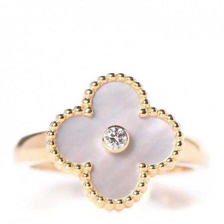 VAN CLEEF & ARPELS 18K Yellow Gold Mother of Pearl Diamond Vintage Alhambra Ring 58 8.5 257401