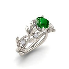 Fashion 925 Silver Ring Emerald Jewelry Women Men Engagement Gift Size6-10