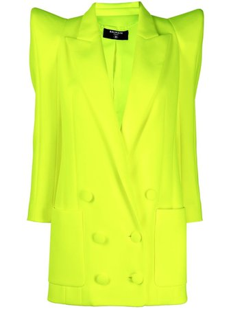 Balmain structured-shoulder double-breasted coat