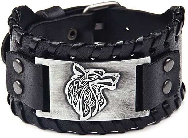 Amazon.com: TURTLEDOVE Viking Bracelet Wolf Fenrir - Vintage Nordic Scandinavian Talisman - Gothic Bracelet for Celtic Pagan: Jewelry