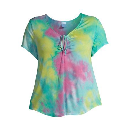 No Boundaries - No Boundaries Junior Plus Size Cinched Tie-Dye T-Shirt - Walmart.com multi