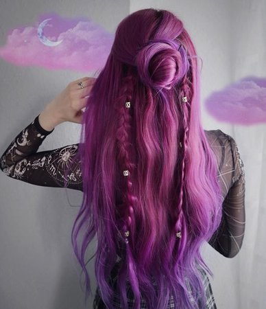 Stunning whimsical style on @rightmew using our Plum + Orchid Purples #lunartides #purplehair | Hair styles, Cool hair color, Plum purple hair