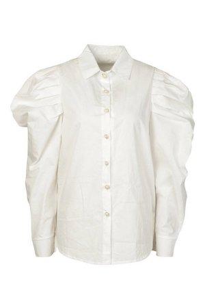 Pearl Button Puff Sleeve Shirt | Boohoo white