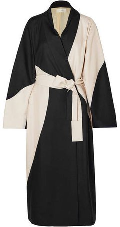 Pernise Two-tone Belted Silk Coat - Cream