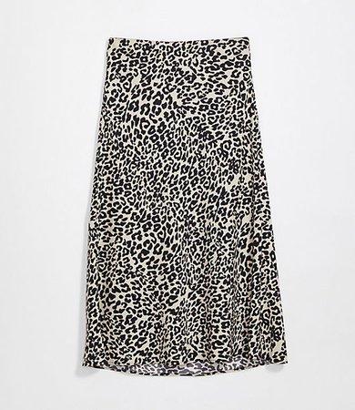 Petite Animal Print Pull On Midi Skirt
