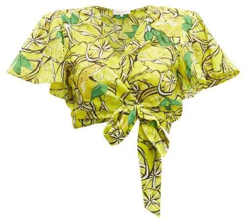 Hailey Lemon Print Cotton Blend Wrap Top - Womens - Yellow Multi