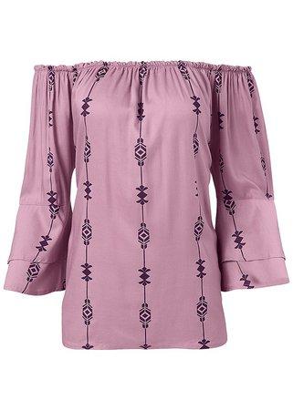 Off The Shoulder Print Top in Purple Multi | VENUS