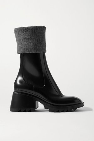 Betty Ribbed-knit And Rubber Boots - Black