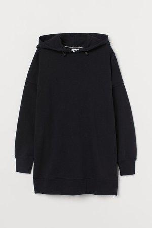 Oversized Cotton Hoodie - Black