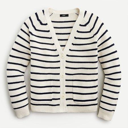 J.Crew: V-neck Cardigan Sweater In Stripe For Women white
