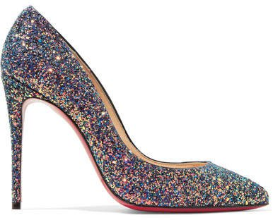 Pigalle Follies 100 Glittered Leather Pumps - Blue