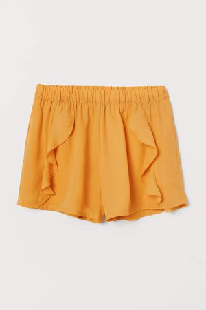Ruffle-trimmed Shorts - Yellow