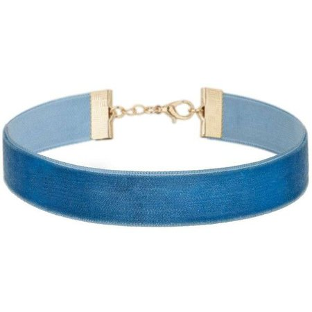 Miss Selfridge Thin Blue Velvet Choker